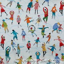 BonEful Fabric FQ Cotton Quilt Scenic Xmas Ice Skate Boy Girl Winter Sport Small