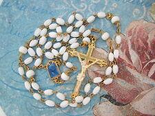Vintage Catholic Rosary White Glass blue enamel center medal ornate Crucifix