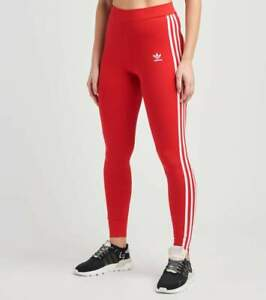 [GN8076] Women's adidas Adicolor Classics 3-Stripes Tights - Red *NEW*