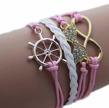 Multilayer Infinity Bracelet with Golden Ship Wheel & Bow with Rhinestones -Gift