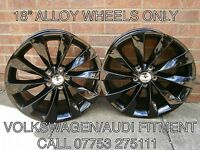 "SET OF 4 X NEW 18"" SCIROCCO TURBINE BLACK STYLE ALLOY WHEELS VW FITMENT 5X112"