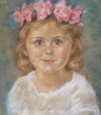 PASTEL DESSIN TABLEAU 1900 PORTRAIT ENFANT FILLE PREMIERE COMMUNION COMMUNIANTE