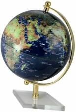Classy Globe With Brass H 30 CM Stand Transparent Color Dark Blue