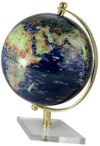 Großer Globus mit Messing Fuß transparent- Farbe dunkelblau