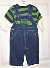 Sesame Street Boy's 2 Piece Denim Overalls w/Stripe Shirt Size 6/9 Months NEW