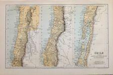 1885 Mappa CILE colchagua Maule Concepcion di arauco di Coquimbo