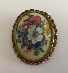 Brooch Antique Porcelain Limoges And Brass Deco Floral REF64792