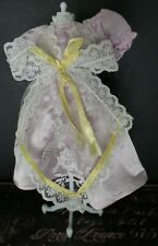 Vintage! Tiny Light Lavender Lace trimmed dress 4 Hard Plastic 1950 60 Era Dolls