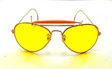 vintage aviator gold metal yellow lens sunglasses nos aviators shooting glasses