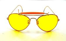 0df0597eded vintage aviator gold metal yellow lens sunglasses nos aviators shooting  glasses