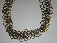 """Gorgeous 5 Layered Mixed Metal Many Circles Necklace-36""""L"""