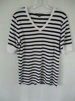 Jones New York Women's Size M 100% Cotton Black & White Short Sleeve Blouse