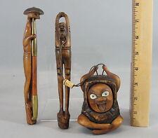 Antique Meiji Japanese Wood, Tobacco Inro, Tonkotsu, Ojimi, Kirerutsuzu & Pipe