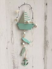 Shabby Wooden Chic Hanging Wooden Boat Fish Anchor Nautical Seaside