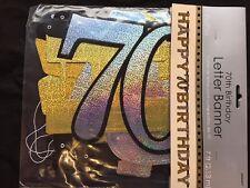 70th Buon Compleanno Lettera Banner Nero Argento Oro Festa Decorazioni età 70