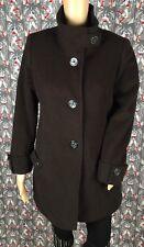 Kristen Blake Ladies Black Fine Australian Wool Blend Peacoat Coat Lined Size Sm