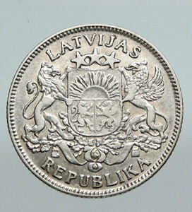 1924 LATVIA Lions & Shield ANTIQUE Vintage OLD Silver European Lats Coin i91288