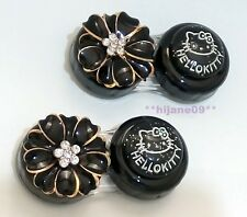Elegant Black Flower Cat Contact Lens Case Pocket Size Storage Holder Container