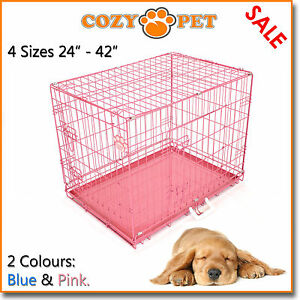 "Dog Cage By Cozy Pet Puppy Crate Pink and Blue 4 SIZES: 24"", 30"", 36"" & 42"""
