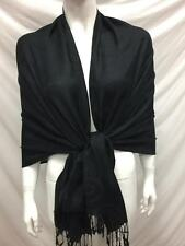 CIRCLE REVERSIBLE WEAR PASHMINA CASHMERE SCARF SHAWL WRAP BLACK ALL SEASON
