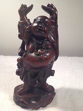 Vintage Hand Carved  Wood  Buddha Statue --- Happy face Buddha