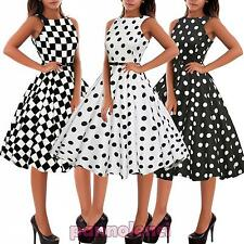 Abito donna vestito pinup anni '50 rockabilly pois scacchi quadri nuovo DL-1950
