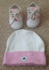 GIRL'S ADIDAS TRAINERS/ PRAM SHOES - SIZE ZERO INFANT (& FREE CONVERSE HAT)