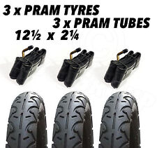 3x Pram Tyres & 3x Tubes 12 1/2 X 2 1/4 Slick Out n about nipper 360 mamakiddies