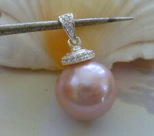 PINK KESHI PEARL PENDANT 15.77 mm  925 Sterling Silver Sparkling Cap and Bail