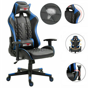 PRO RECLINING SPORTS RACING GAMING CHAIR OFFICE DESK PC CAR LEATHER CHAIR BLACK