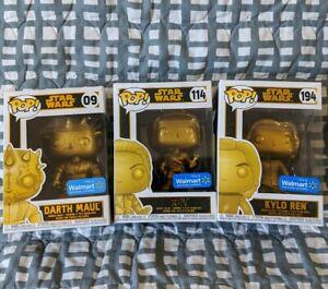 FUNKO POP Star Wars Gold Metallic Kylo Ren Rey Darth Maul Walmart Exclusive Lot