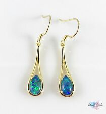 Australian Genuine Opal Earrings 8x6mm Dangle Drop Gold Plated Sterling Silver