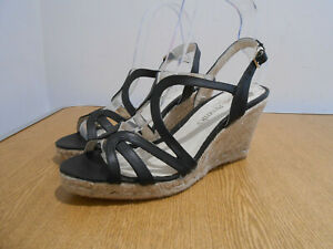 Russell & Bromley Eye Candy black leather strappy woven wedge sandals 39 6 NEW