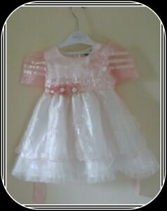 TK, Pink and White party / special occasion dress, age 1 year, NWOT
