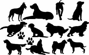 DOGS Wall Art Stickers (decals) Many Colours, 4 x Sizes - 12 different dog poses