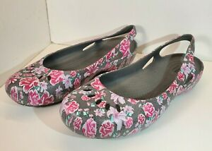 Crocs Iconic Comfort Roses Floral Gray Slippers House Shoes Womens Sz 10