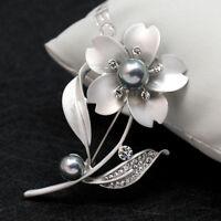 Fashion Rose Flower Pearl Rhinestone Cute Women Bridal Wedding Party Brooch Pin