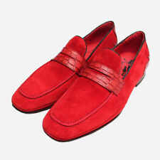 Jeffery West Red Suede & Crocodile Leather Loafers