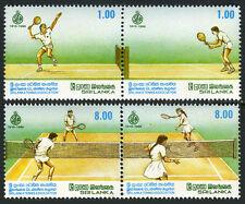 Sri Lanka 973-976a 2 pairs, MNH. Sri Lanka Tennis Assoc., 75th anniv. 1990