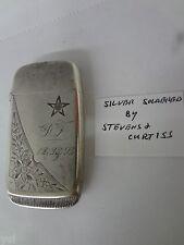 Vintage  Vesta Case Pocket Match Safe  Silver Soldered Antique Collectible G-909