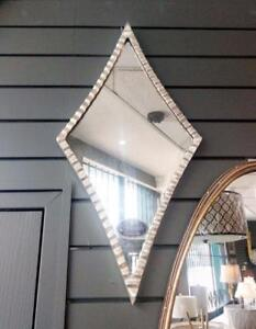 NEW Pair Horchow Mid Century French Modern Diamond Shaped Wall Mirrors Set TWO