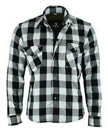 BlackTab Motorcycle Wht/Blk Shirt FULLY Reinforced with Protective Kevlar Lining