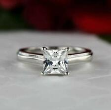 1 Ct White Princess Cut Diamond Solitaire Engagement Ring In 14K White Gold Over