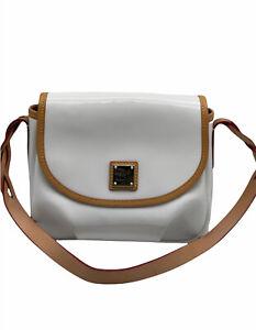 Dooney & Bourke White Patent Leather Shoulder Bag Small Saddle Handbag Flap Tan