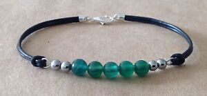 Green Agate+Hematite, Black Leather Cord, Silver Plated Friendship Bracelet