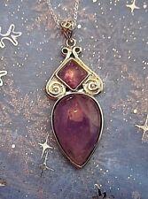 LIGHT PURPLE Amethyst Necklace Pendant Aztec Design FREE Silver Chain A014