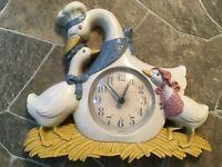 Burwood 3 Geese WALL CLOCK Goose & 2 Goslings 2894 Homco Home Interiors WORKS