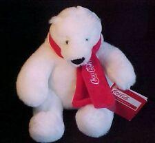 """Collectible Coca Cola Plush 6 """" Polar Bear Red Scarf Black Nose NWT SO CUTE 2011"""