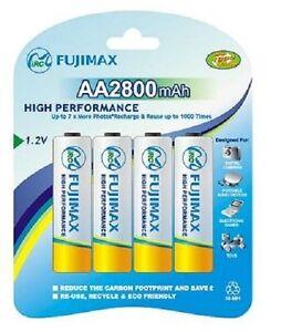 FUJIMAX*4 x 2800 MAH AA RECHARGEABLE BATTERIES-NI-MH