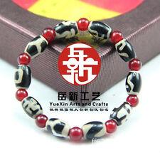 "Stretchy Tibetan 10 Barrel Agate dZi Beads Beaded Bracelet 6"" -Powerful Energy!"